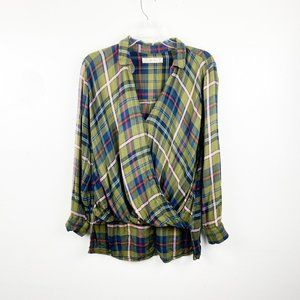 ABERCROMBIE & FITCH Green Plaid Wrap Top Flannel